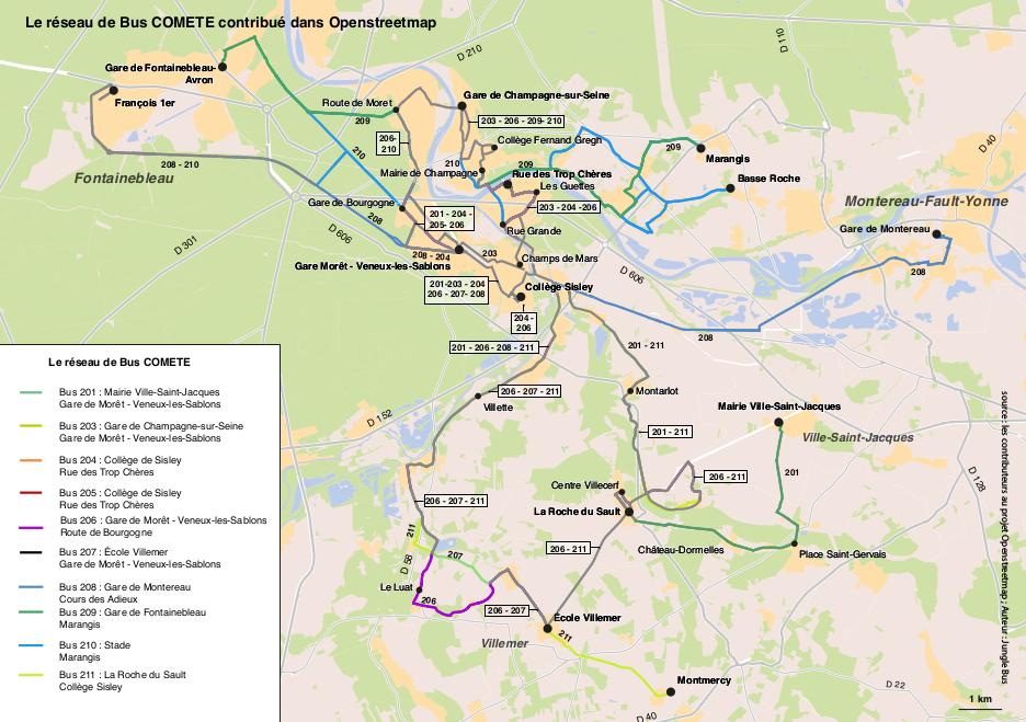 Plan de transport - réseau de bus Comète