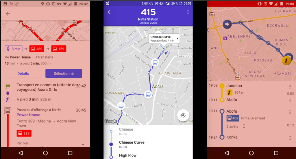 OSMAnd, Transit App et TransportR, les applications de transport disponibles à Accra