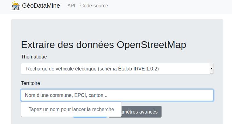 GéoDataMine pour extraire des données OSM